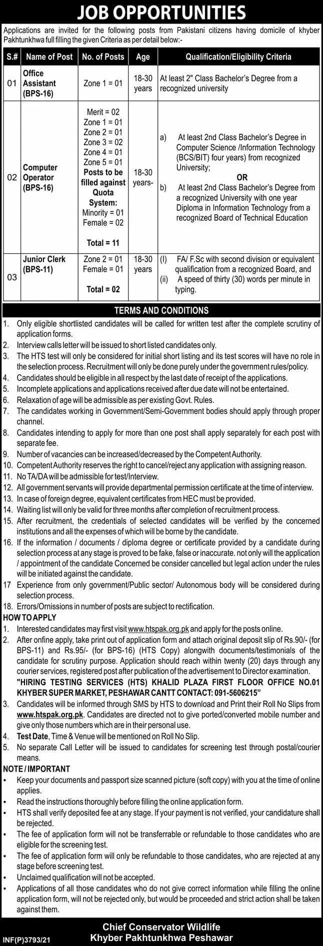 Govt of KPK Jobs At Khyber Pakhtunkhwa Forest and Wildlife Department Peshawar