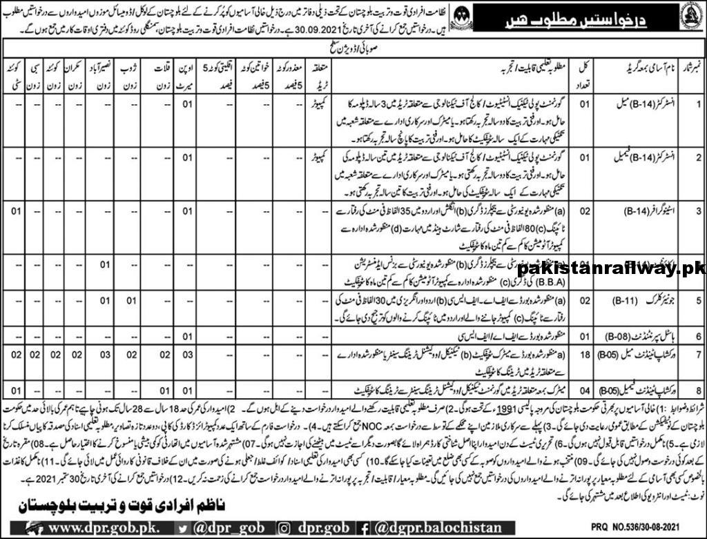 New Govt jobs in Balochistan At Directorate of Manpower and Training Balochistan