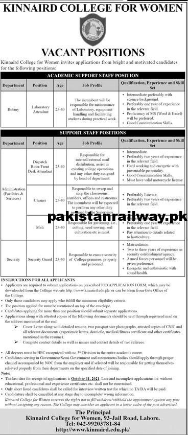 Latest Today Jobs At Kinnaird College for Women Lahore