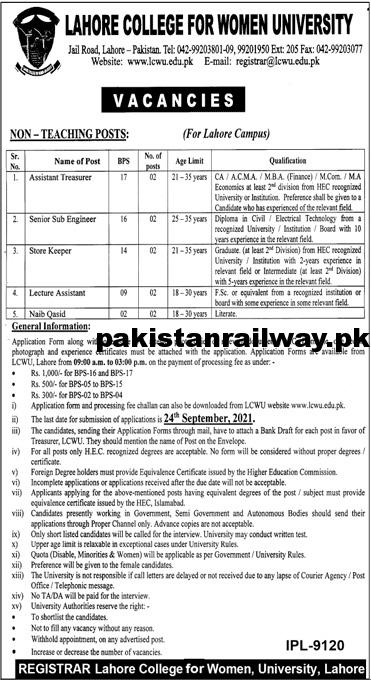 Govt Teaching jobs in Lahore 2021 At LCWU Lahore College for Women University