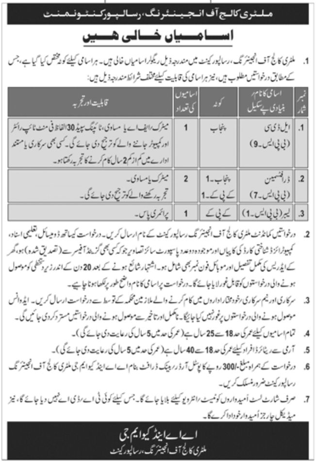 Military College of Engineering Risalpur Latest Jobs Today
