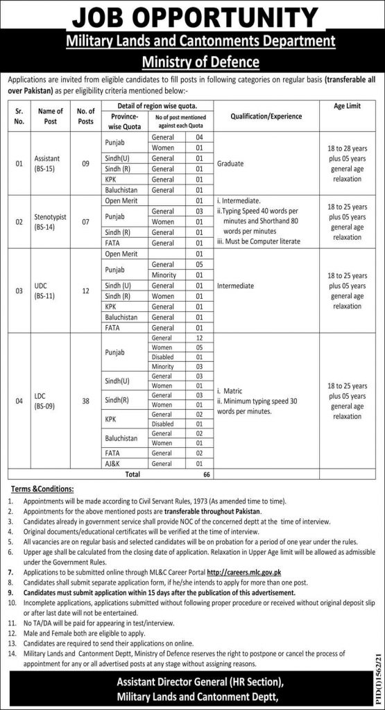 MLC Military Lands and Cantonment Jobs Test Date Roll No Slip Result Interview Schedule Merit List Call Letter Details