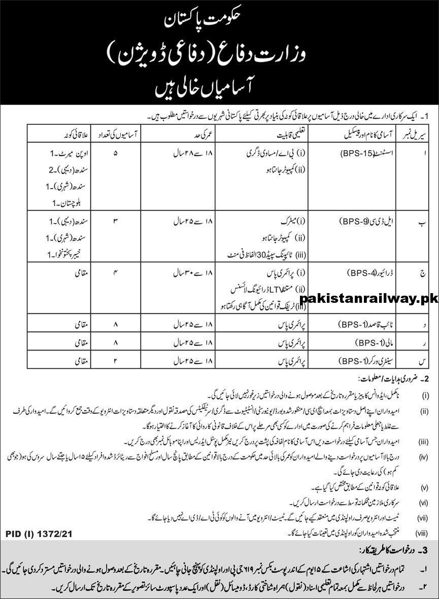 MOD Jobs 2021 At Ministry of Defence Pakistan Federal Government of Pakistan Jobs For Matric Pass