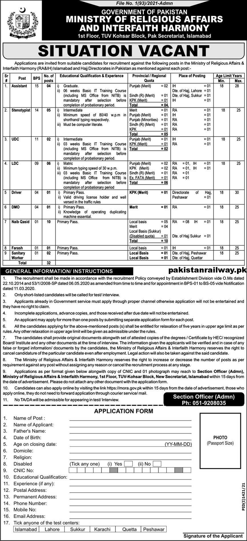 Government jobs in Pakistan 2021 Matric Base At MORA Ministry of Religious Affairs and Interfaith Harmony