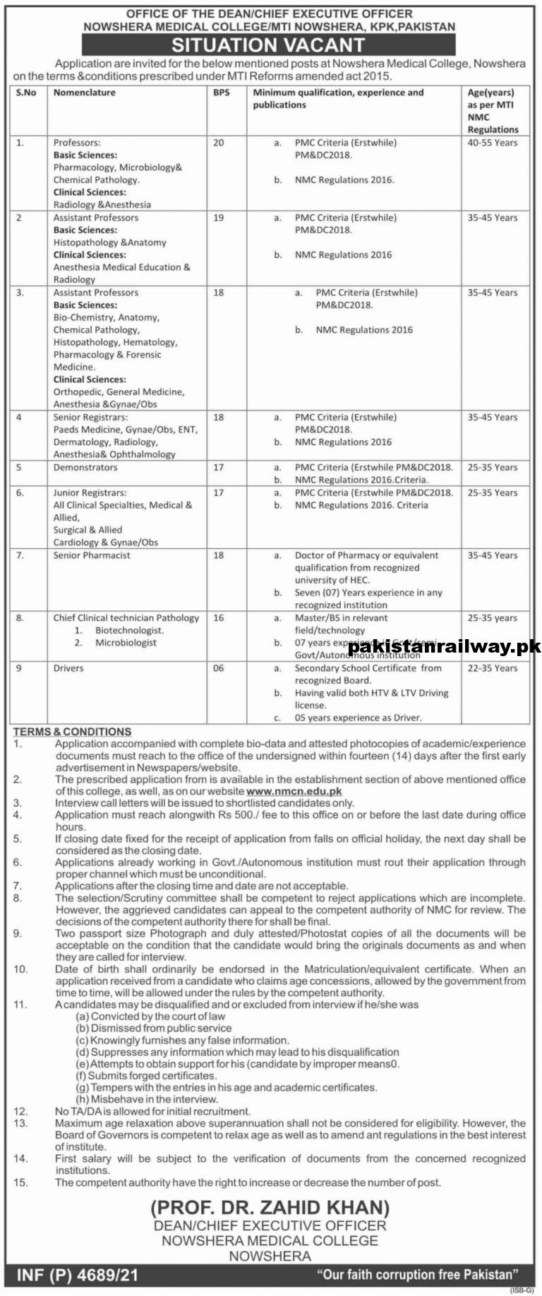 Latest Jobs At Nowshera Medical College 2021 Application Form