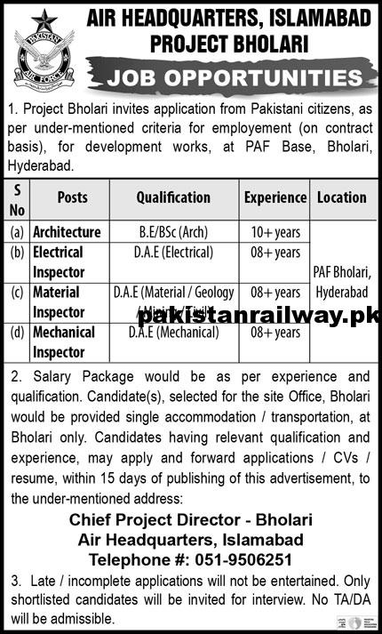 Pakistan Air Force Jobs 2021 After Matric At PAF Air Headquarters