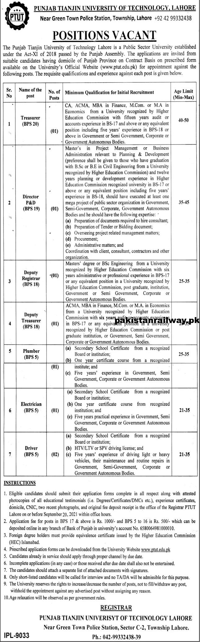 Government Jobs for Middle Pass in Punjab 2021 At PTUT Punjab Tianjin University of Technology