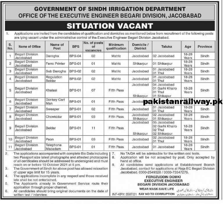 Government Jobs in Karachi 2021 For Matric At Irrigation Department Sindh