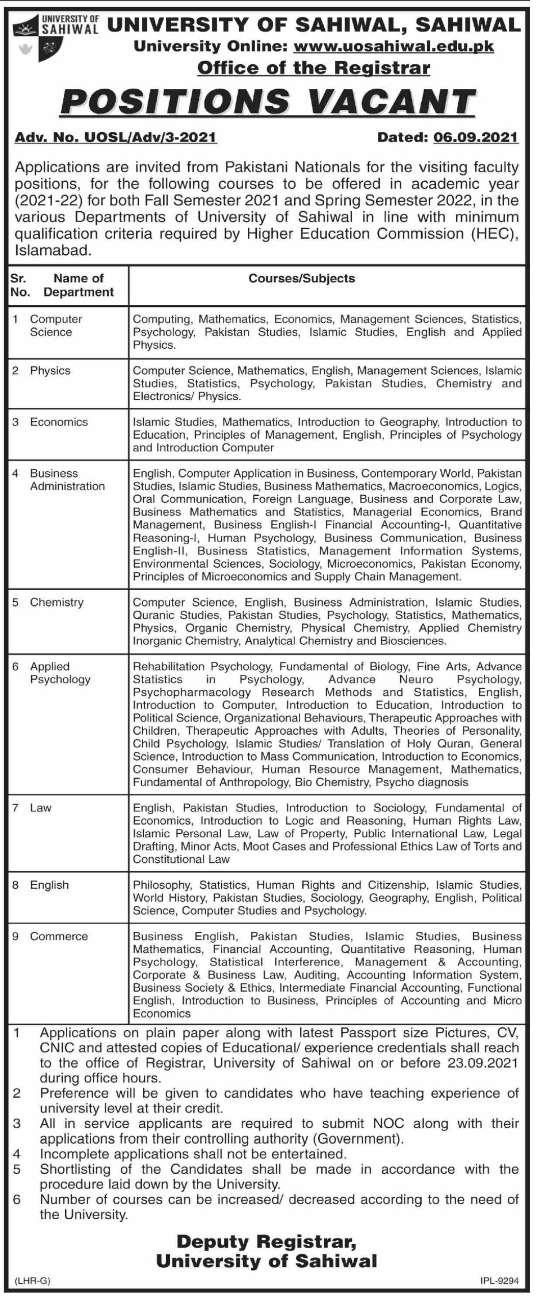 Today Govt jobs in Pakistan For Teachers 2021 At University of Sahiwal