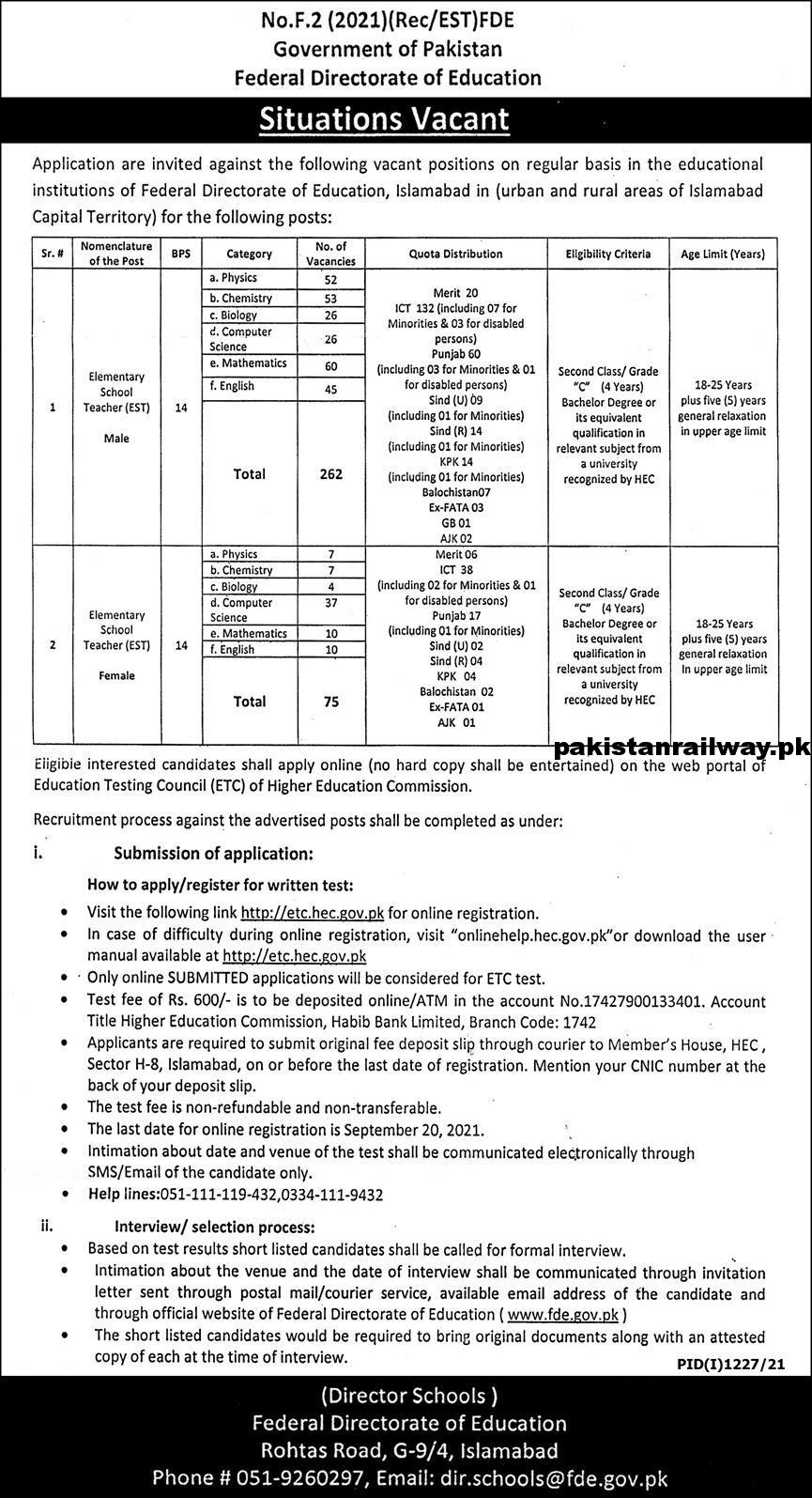 Govt Teaching Jobs in Pakistan 2021 At Federal Directorate of Education