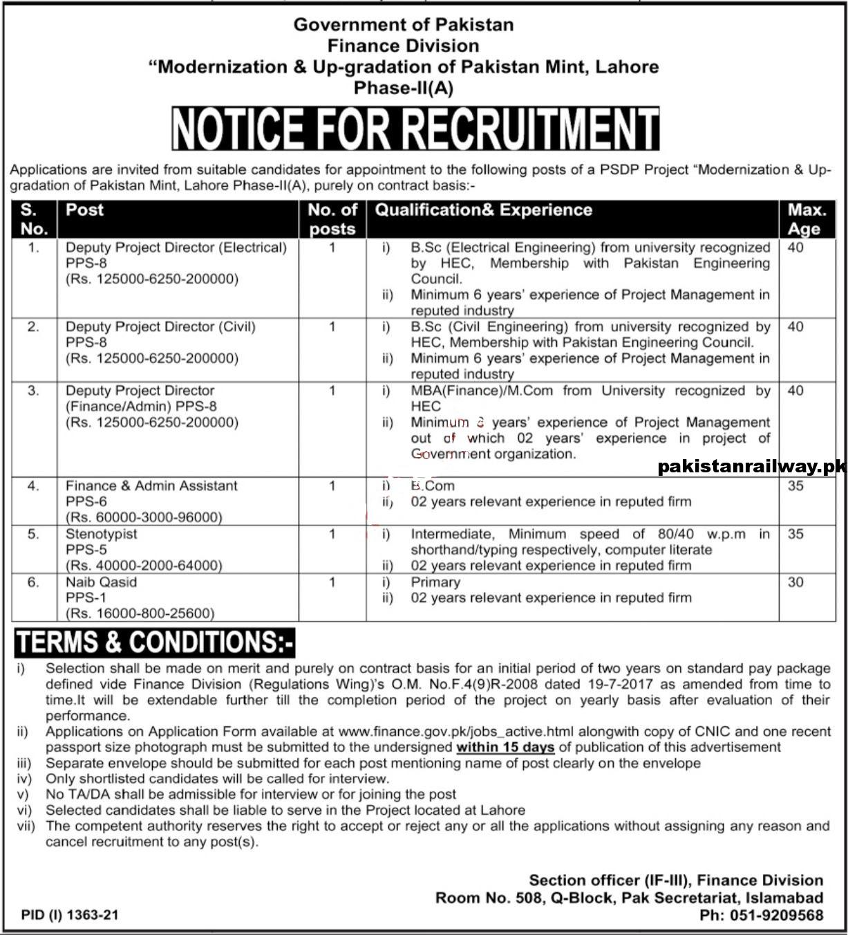 Finance Department Jobs 2021 At Ministry of Finance Punjab Islamabad