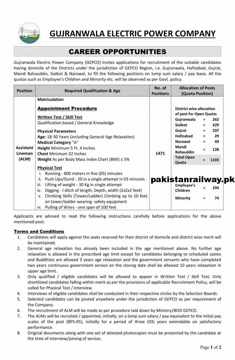 NEW NTS Jobs Today At Gepco For ALM Assistant Line Man