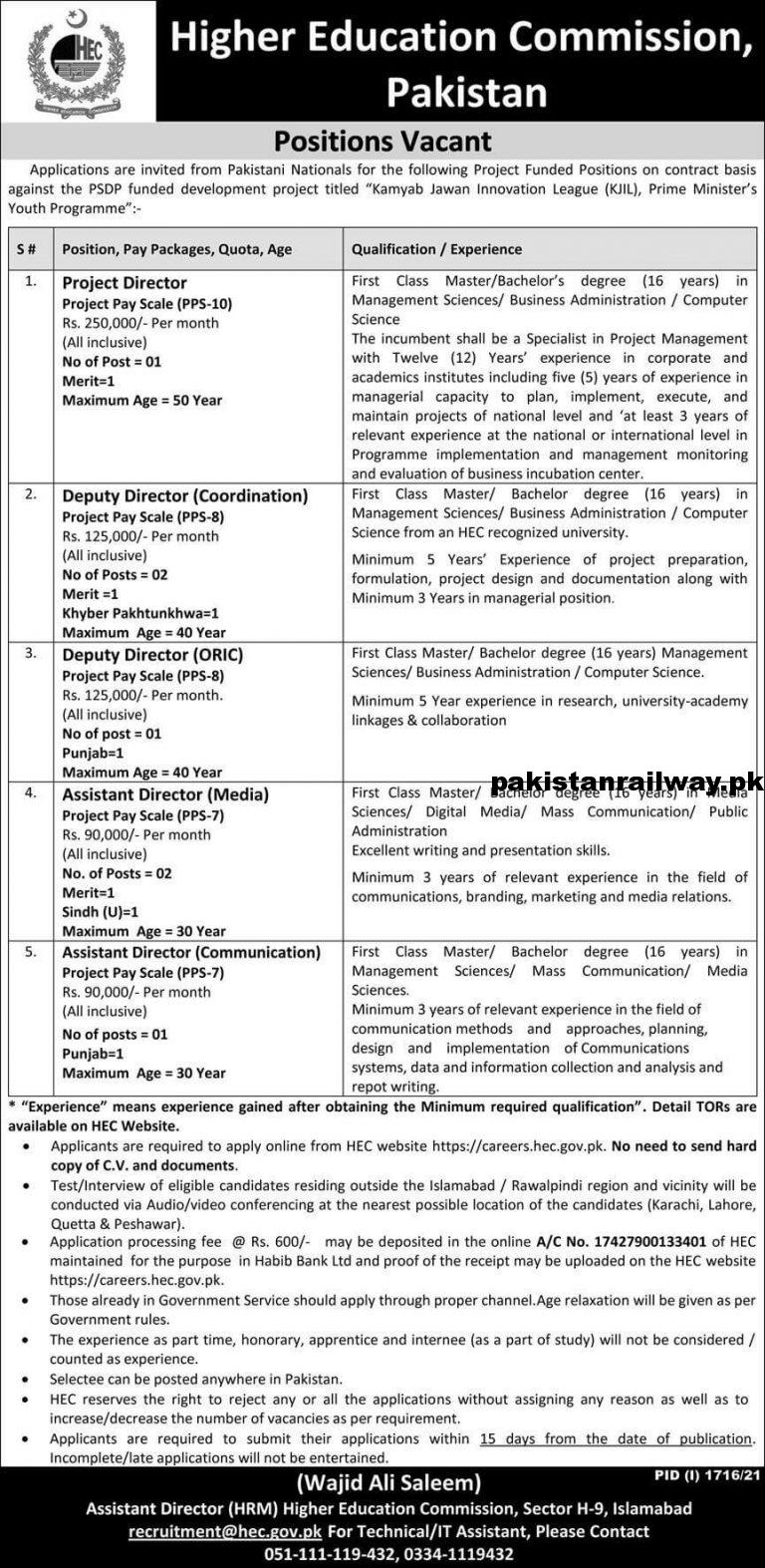 HEC Jobs 2021 apply online Pakistan Higher Education Commission
