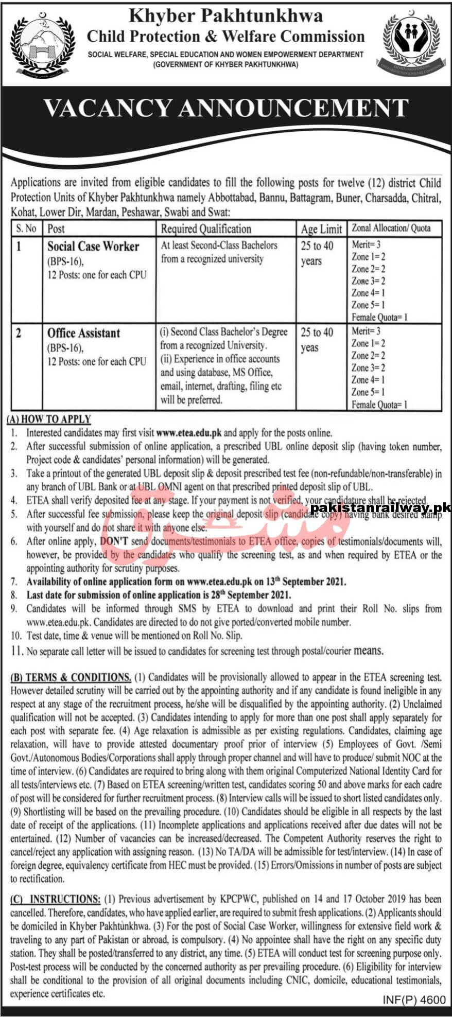 ETEA Jobs 2021 At KPK Child Protection and Welfare Commission