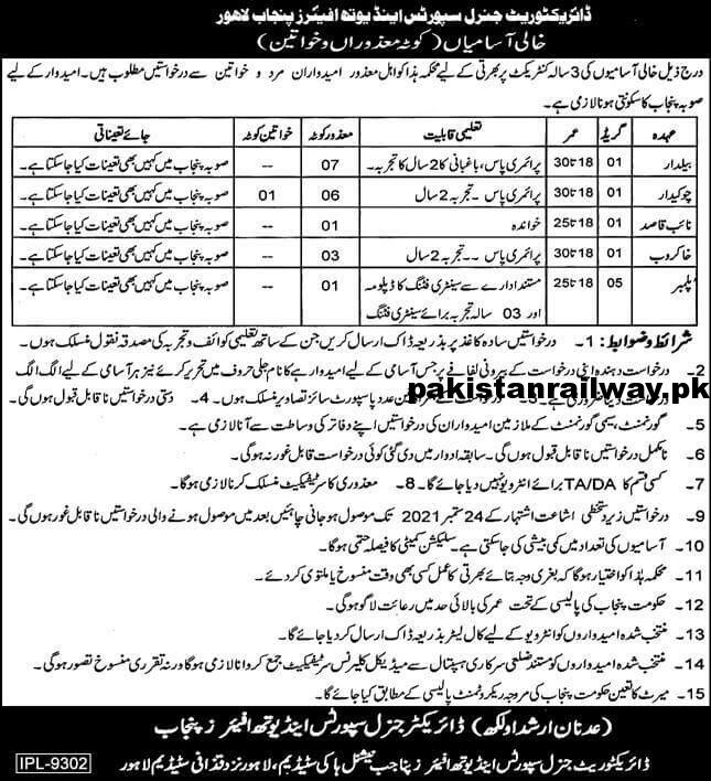 Govt Jobs in Lahore 2021 At Lahore Government Punjab Sports and Youth Affairs Department
