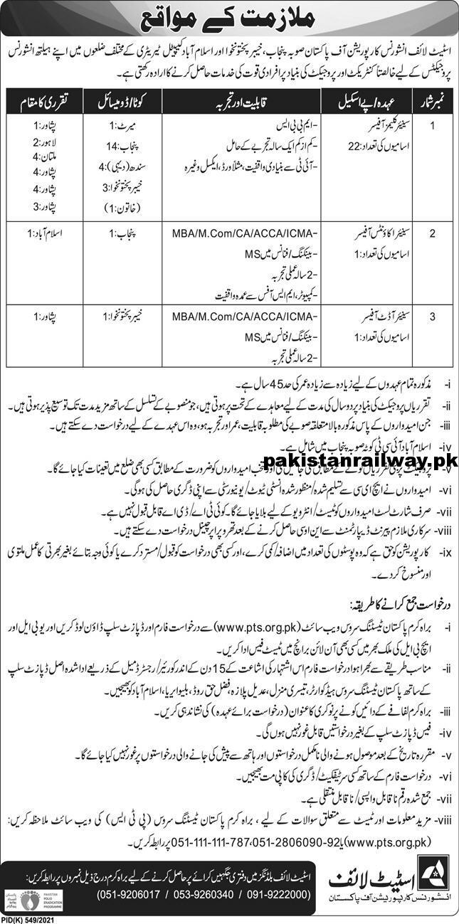 New Govt Jobs 2021 in Pakistan At State Life Corporation of Pakistan