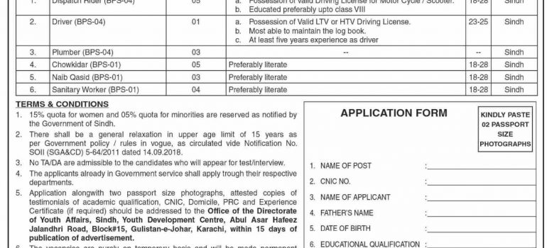 New Govt Jobs 2021 Sindh At Sindh Directorate of Youth Affairs