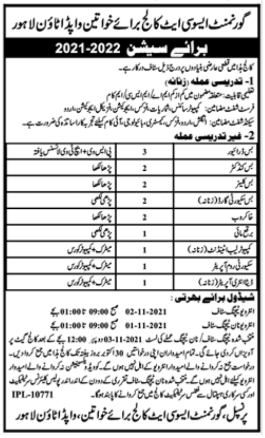 Govt Jobs Lahore Today At WAPDA Town College Lahore
