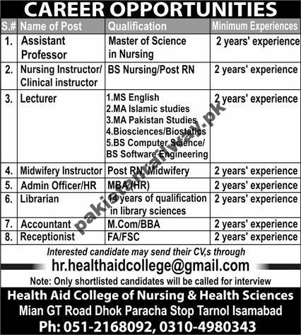 Government Teaching Jobs in Islamabad At Health Aid College of Nursing & Health Sciences