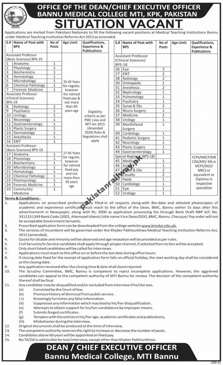 Govt Jobs in Pakistan for Teachers 2021 At Teaching Institution Bannu