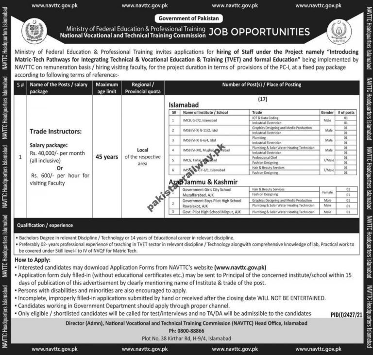Federal Government Teaching Jobs in Islamabad At MOFEPT Ministry of Federal Education & Professional Training