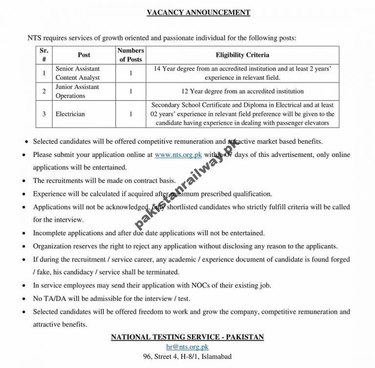NTS New Jobs 2021 National Testing Service