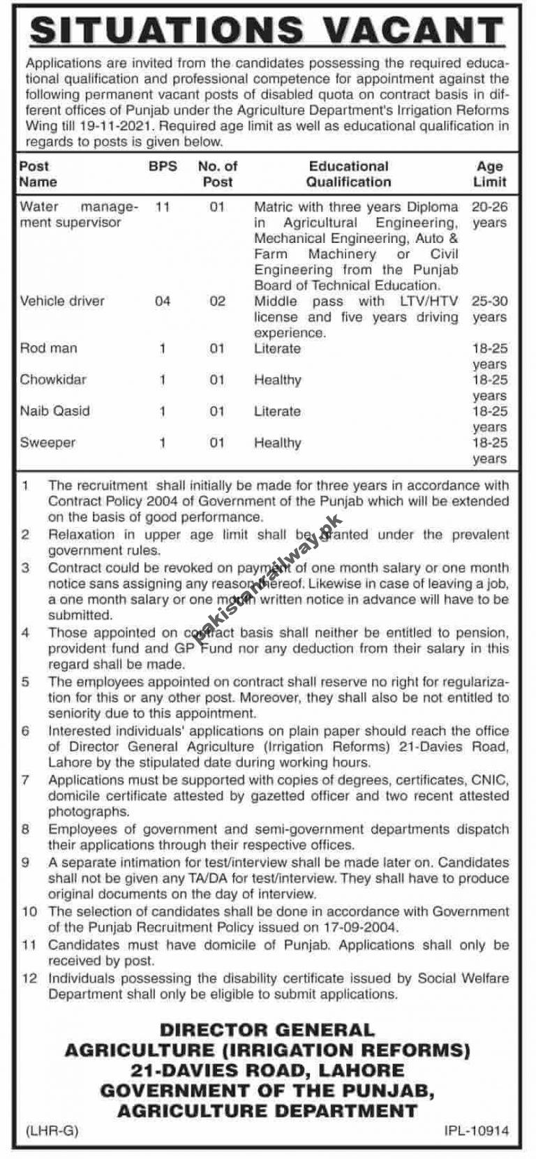 New Govt Jobs in Lahore At Punjab Agriculture Department