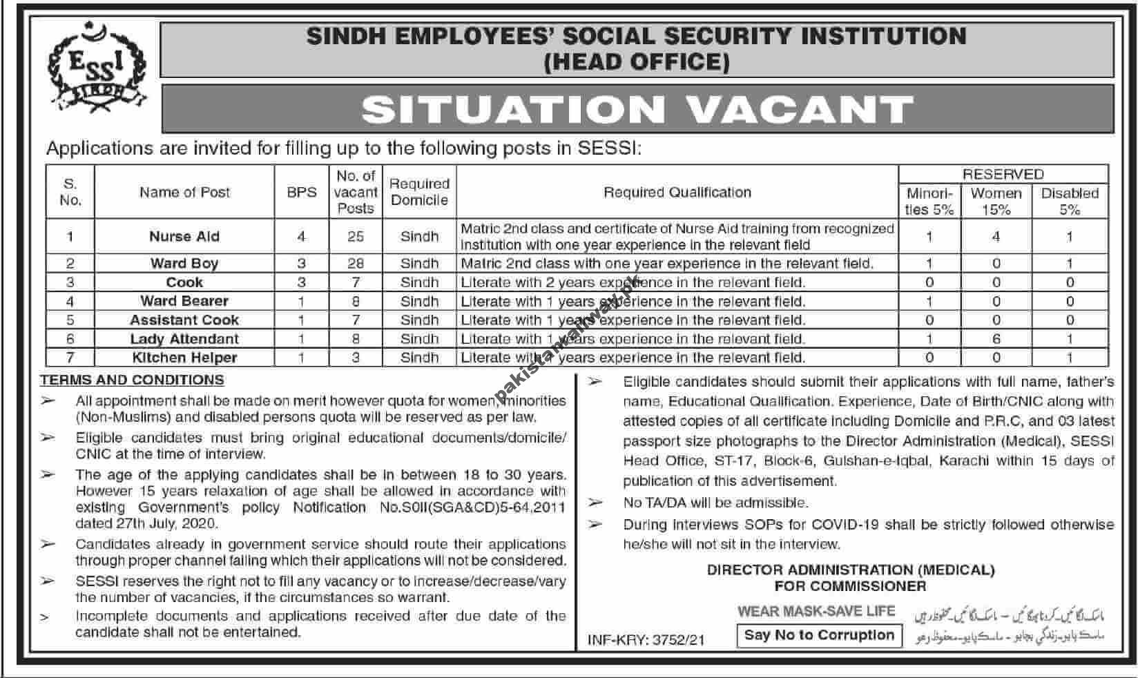 Government Jobs in Karachi 2021 for Matric At SESSI Sindh Employees Social Security Institution
