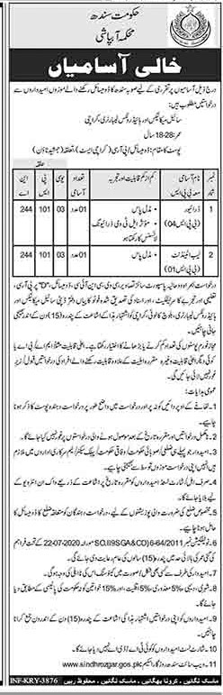 Sindh Government Jobs All Department At Sindh Irrigation Department