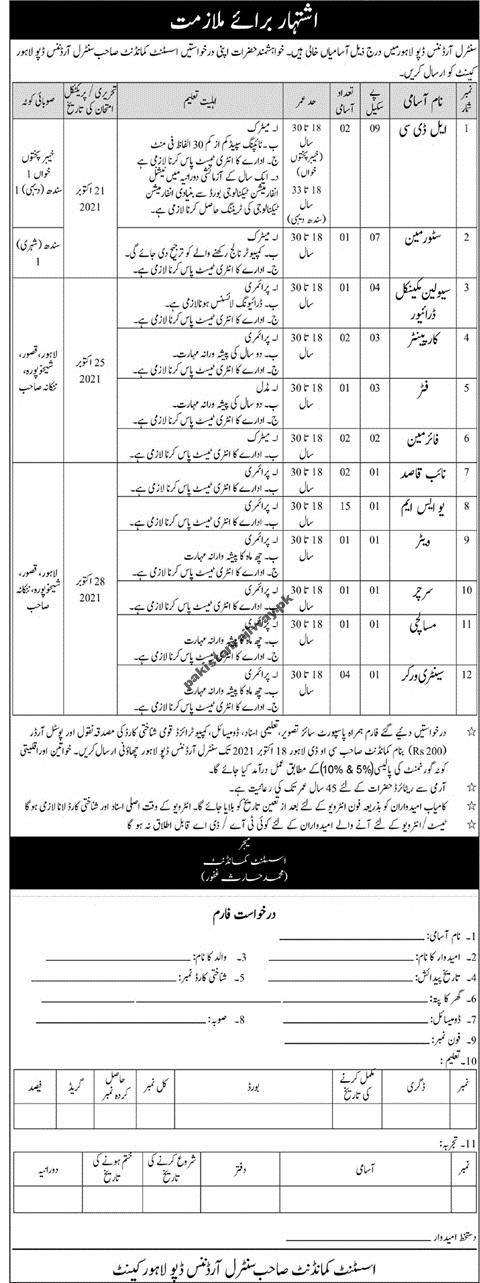 Latest Govt jobs in Pakistan 2021 Today Central Ordnance Depot Lahore Jobs