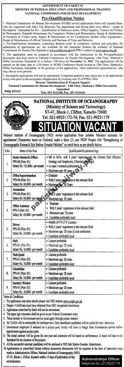 Government Jobs in Karachi for Matric Pass Students At NIO National Institute of Oceanography