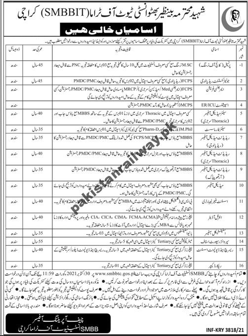 Latest Sindh Government Jobs 2021 At SMBBTC Shaheed Mohtarma Benazir Bhutto Institute of Trauma
