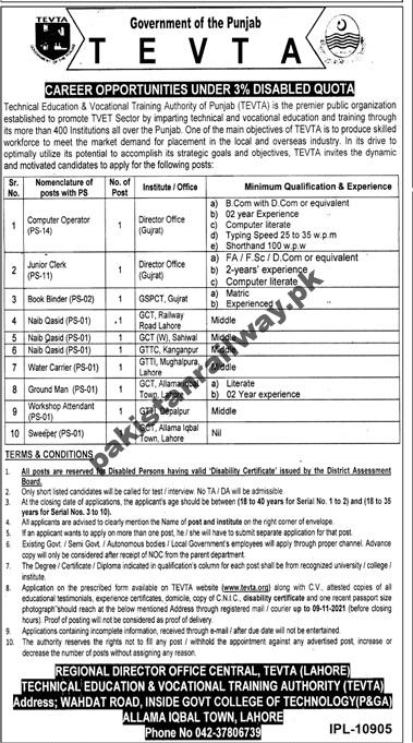 Govt jobs in Lahore 2021 Matric Base At TEVTA Technical Education and Vocational Training Authority
