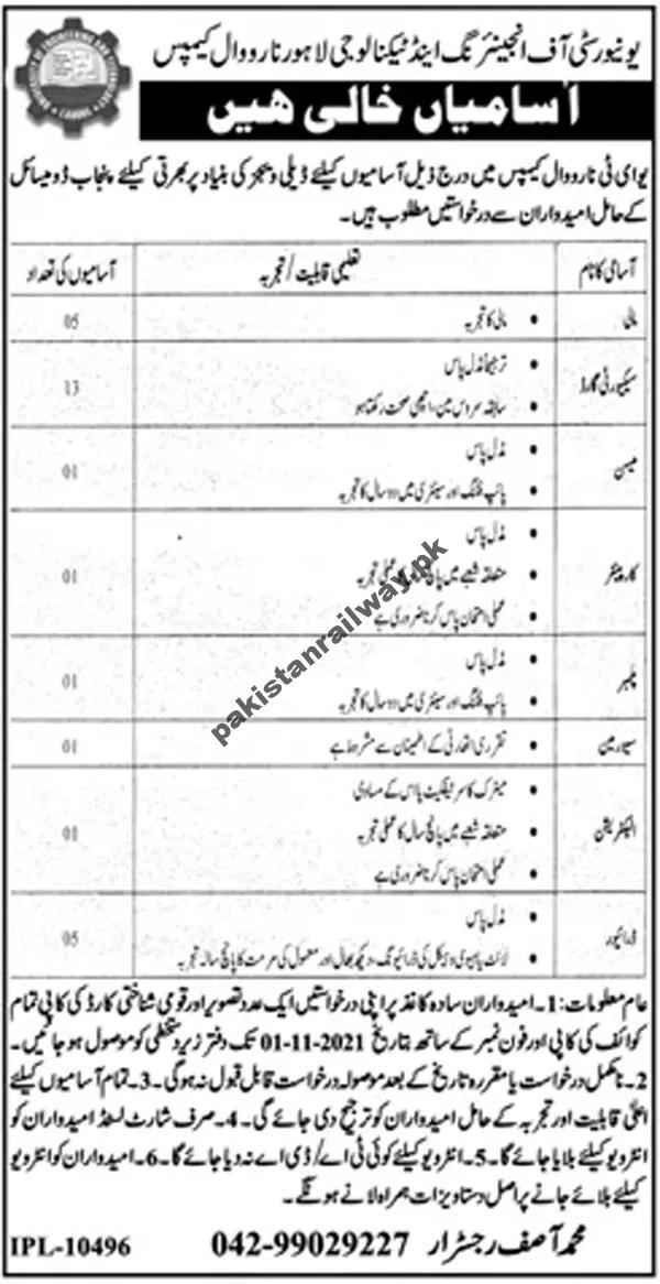 University of Engineering and Technology Jobs At UET Lahore Jobs